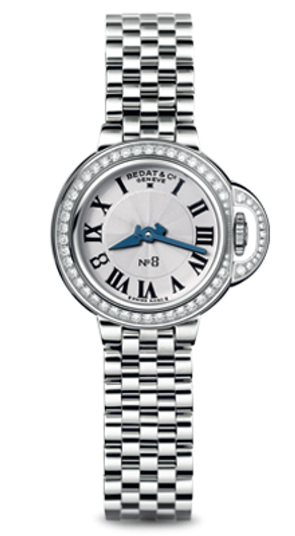 For sale BEDAT & CO Nº 8 Opaline Guilloche Dial, Diamond Bezel, Steel Ladies Watch 827.041.600 , available at Legend of Time Chicago and online.