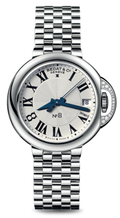 For sale elegant ladies Swiss timepiece - BEDAT & CO Nº 8 Opaline Guilloche Dial, Diamond Crown Protector, Steel Ladies Watch 828.021.600, authorized dealer Legend of Time Chicago watch store