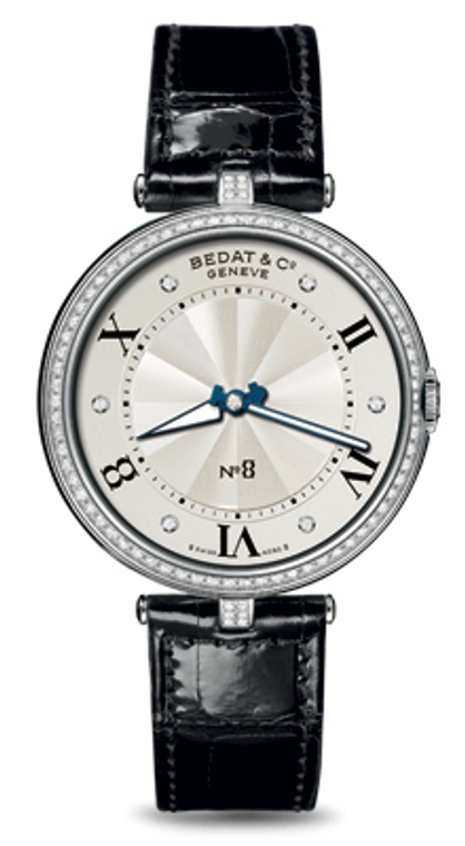 For sale - BEDAT & CO Nº 8 Opaline Guilloche Dial, Diamond Bezel & Markers, Steel Ladies Watch 823.040.109 - Elegant ladies diamond and steel timepiece.  Authorized Dealer Legend of Time.