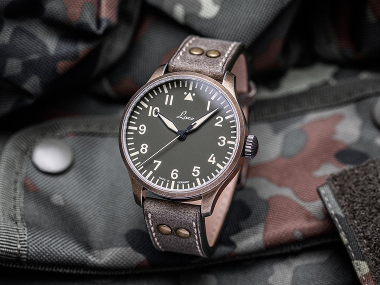 For sale LACO PILOT WATCH BASIC AUGSBURG OLIV 42mm Limited Edition 250 WorldWide - authorized watch dealer Legend of Time Chicago.  Great vintage inspired mens German made and designed watch.