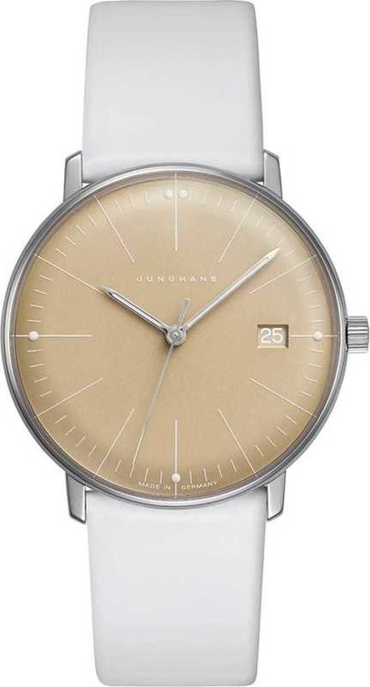 For sale  max bill DAMEN Junghans 047/4657.00 white leather strap, yellow dial, ladies steel watch , available to purchase online or at our Chicago location. Legend of Time