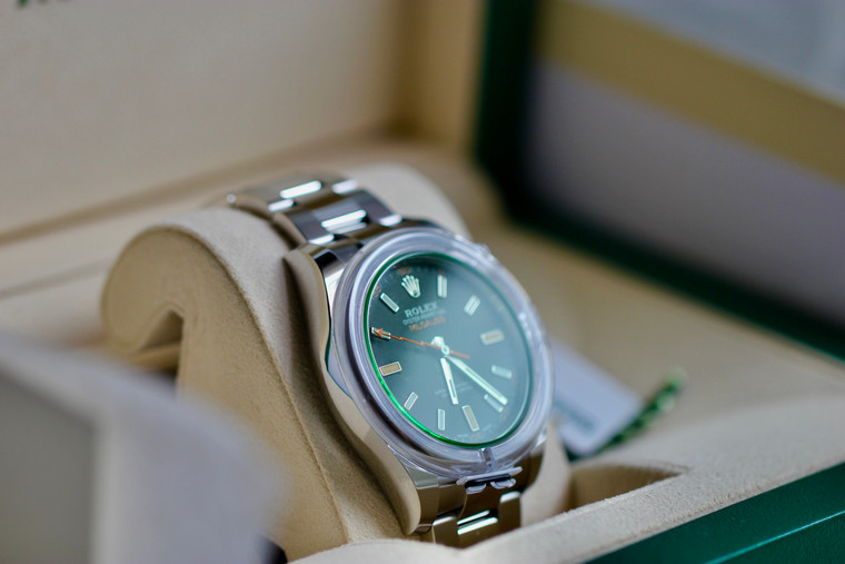 Unworn Rolex Watch MILGAUSS Intense Black Dial Green Crystal 116400GV Steel Oyster Watch - available in store Legend of Time Chicago with free USA shipping