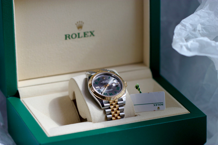 """Rolex DATEJUST 41 Slate """"Wimbeldon Dial"""" Ref # 126333, Fluted Bezel, Jubilee Bracelet , Steel & Yellow Gold, complete with Box and Papers, please contact for price , watch is available at Legend of Time Chicago Watch Store."""