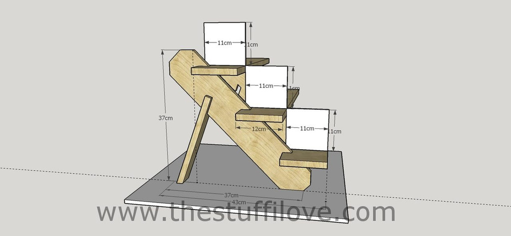 3 Tier Portable Stepped Craft Trade Fair Table Top Wooden Collapsible Riser Display Stand measurements.
