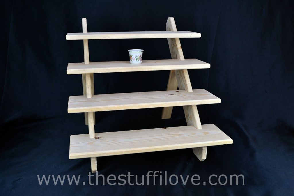 """4 Tier 75 cm (19.5"""") Deep Portable Stepped Craft Trade Fair Table Top Wooden Collapsible Riser Display Stand"""