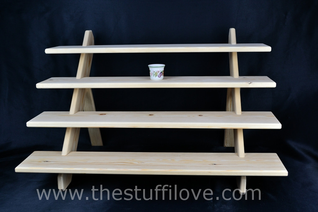 """4 Tier 75 cm (29.5"""") Deep Portable Stepped Craft Trade Fair Table Top Wooden Collapsible Riser Display Stand"""