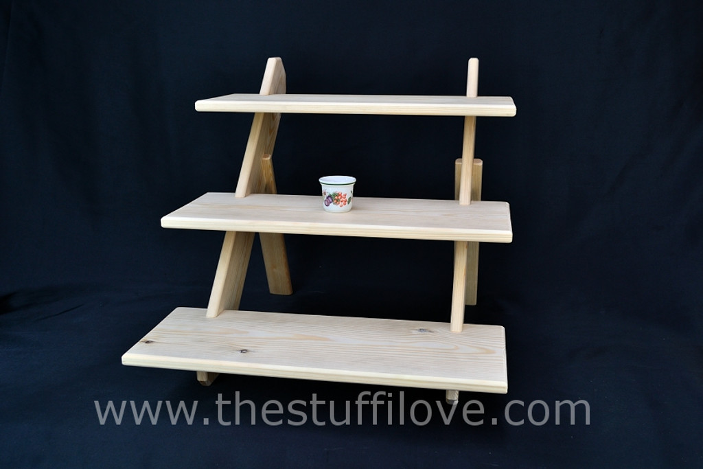 """3 Tier 50 cm (19.5"""") Wide Extra Deep Portable Stepped Craft Trade Fair Table Top Wooden Collapsible Riser Display Stand"""