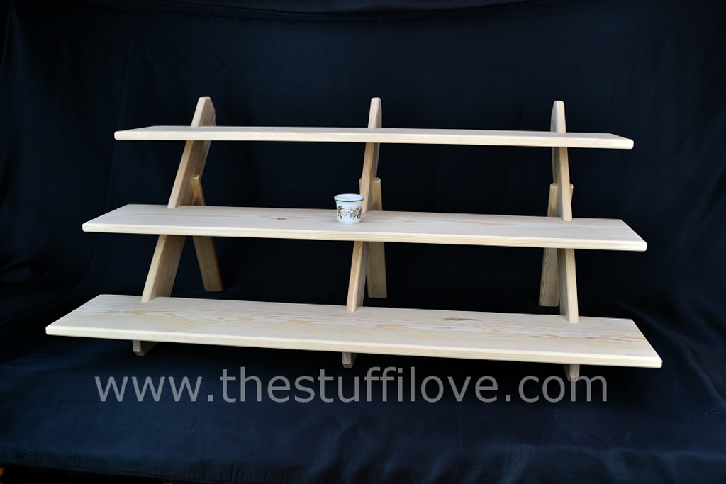 """3 Tier 1 Meter cm (39.5"""") Wide Extra Deep Portable Stepped Craft Trade Fair Table Top Wooden Collapsible Riser Display Stand"""