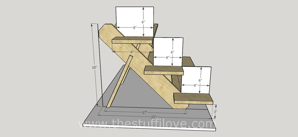 3 Tier Extra Deep Portable Stepped Craft Trade Fair Table Top Wooden Collapsible Riser Display Stand measurements.