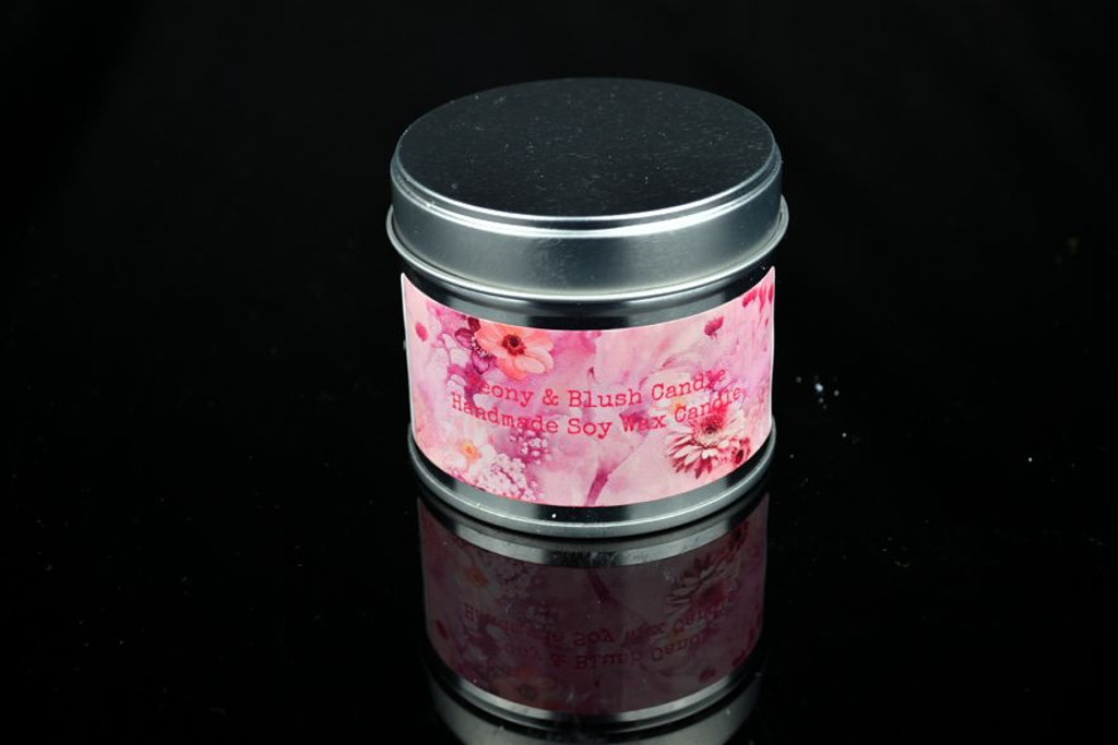 Similar to Peony and Blush Perfume Soy Wax Candle in a 250ml Silver Tin