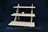 "3 Tier 50 cm (19.5"") Wide Extra Deep Portable Stepped Craft Trade Fair Table Top Wooden Collapsible Riser Display Stand"