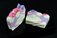 Handmade berry soap slice