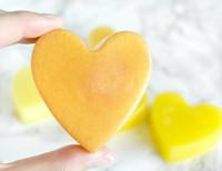 Handmade conditioner bar in a heart shape with lemongrass