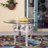 "Cuba Dining Table with 48"" Round Tempered Bevel Edge Glass in Rustic Driftwood Finish"