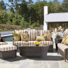 Barrington Outdoor Seating Collection with Glass Top in Chestnut finish