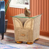 Majorca Glass Top Side Table with storage in Natural Wash finish