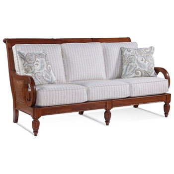 Grand View Sofa in '0223-93 C' fabric with pillow fabric '0570-84 E' and Havana finish