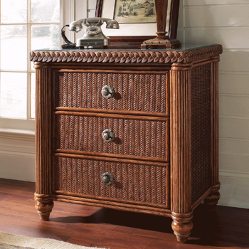 Harborside 3 Drawer Chest With Glass Top