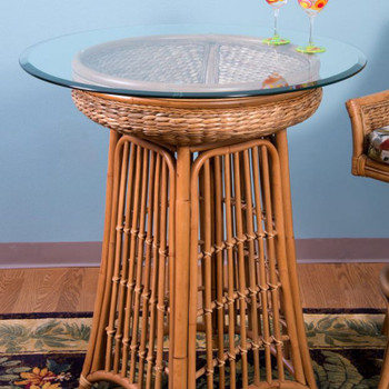 Havana Pub Table With Glass Top in Antique Honey finish