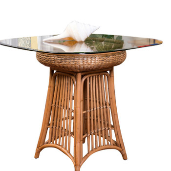 Havana Counter Table with square round glass top in Antique Honey finish