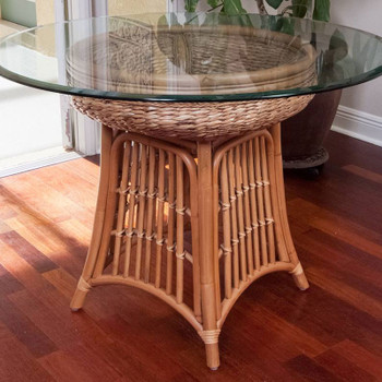 Havana Dining Table with round glass top in Antique Honey finish