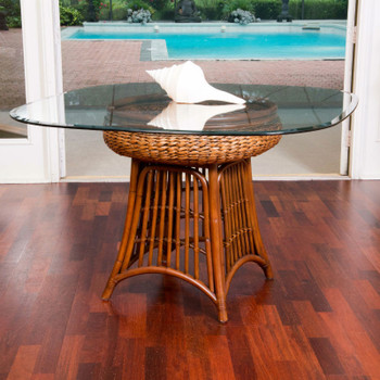 "Havana Dining Table with 42"" square round glass top in Sienna finish"