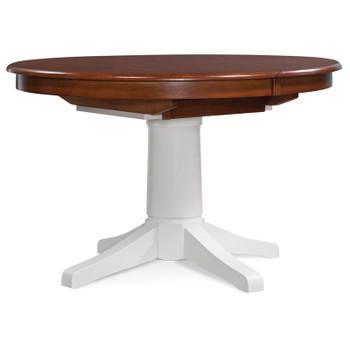 "Hues 48""/66"" Round Extension Dining Table with Havana finish on top and Cottage White finish on base"