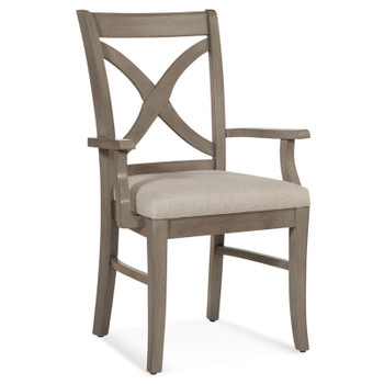 Hues Dining Arm Chair in fabric '0851-93 A' and Driftwood finish