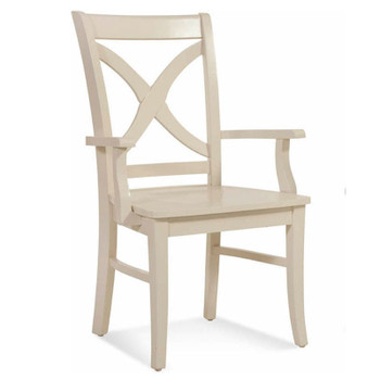 Hues Dining Arm Chair with Wood Seat in Cottage White finish