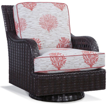 Lake Geneva Swivel Rocker in Java finish and  fabric '6491-24 N'