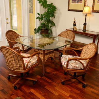 Panama 5 peace Dining Set with Swivel Caster Chairs in Sienna finish
