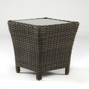 Panama Outdoor End Table with Glass Top