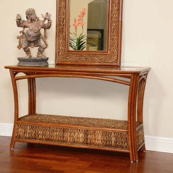 Panama Sofa Table With Glass Top in Sienna finish