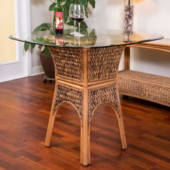 Panama Counter Table with Glass Top in Antique Honey finish