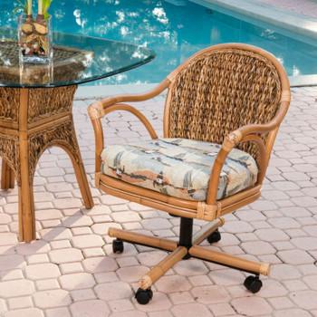 Panama Tilt Swivel Caster Chair in Antique Honey finish