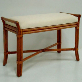 Rattan Bench with Upholstered Seat