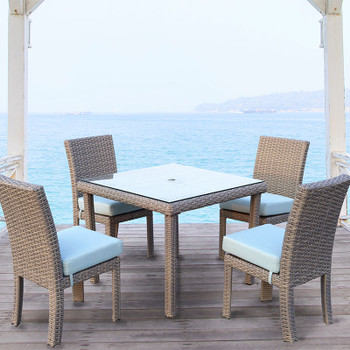 Saint Tropez 5 piece Outdoor Dining Set with side chairs in Stone finish