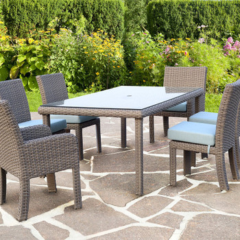 Saint Tropez 7 piece Outdoor Dining Set in Stone finish