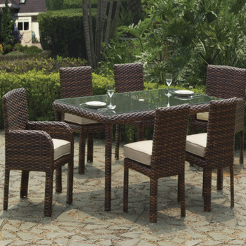 Saint Tropez 7 piece Outdoor Dining Set in Tobacco finish
