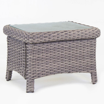 Saint Tropez Outdoor End Table with Glass Top in Stone finish