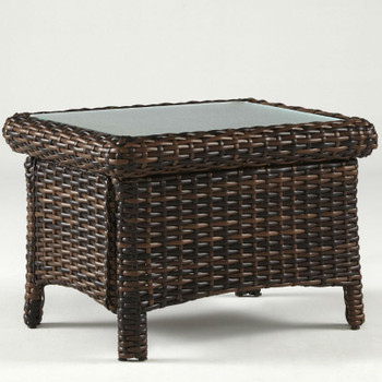 Saint Tropez Outdoor End Table with Glass Top in Tobacco finish