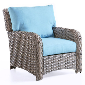 Saint Tropez Outdoor Lounge Chair in Stone finish and Cast Horizon fabric