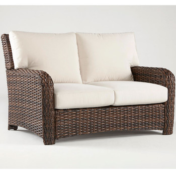 Saint Tropez Outdoor Loveseat in Tobacco finish and Canvas Canvas fabric