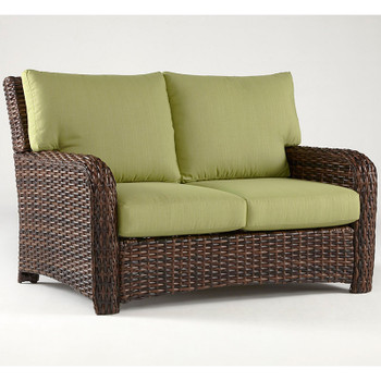 Saint Tropez Outdoor Loveseat in Tobacco finish and Dupione Peridot fabric