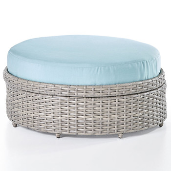 Saint Tropez Outdoor Round Ottoman in Stone finish