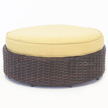 Saint Tropez Outdoor Round Ottoman in Tobacco finish