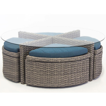 Saint Tropez Outdoor Round Sushi Table With Ottomans in Stone finish