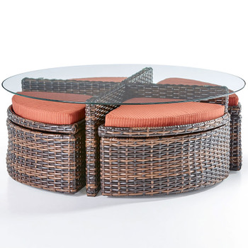 Saint Tropez Outdoor Round Sushi Table With Ottomans in Tobacco finish