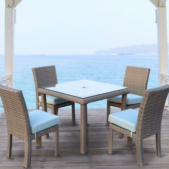 Saint Tropez Outdoor Dining Set in Stone finish