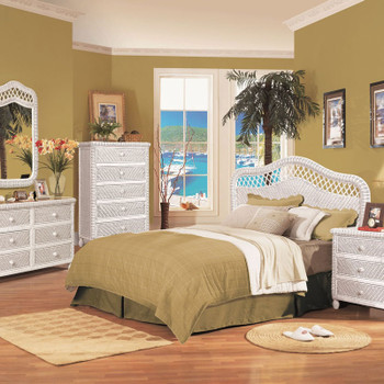 Santa Cruz 5 Drawer Chest with Glass Top in White finish